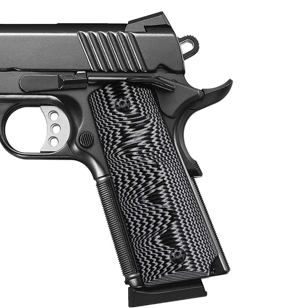 Cool Hand 1911 Full Size G10 Grips, Screws Included, for Left and Right Handed, Ambi Safety Cut (Black/White) by Cool Hand