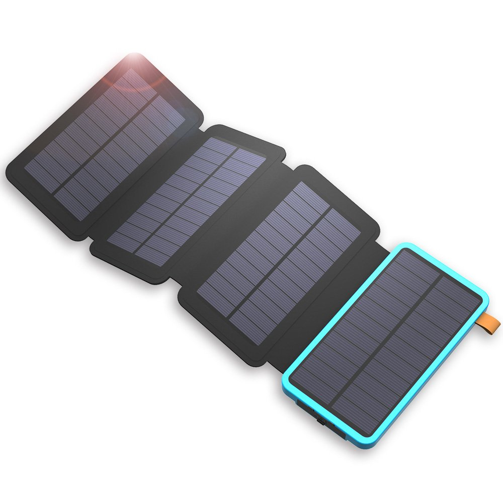 X-DRAGON Solar Charger, 20000mAh Solar Power Bank with 4 Solar Panels, Dual USB, LED Flashlight Waterproof Portable External Battery Backup for iPhone, Cell Phones, ipad, Tablet and More-Blue
