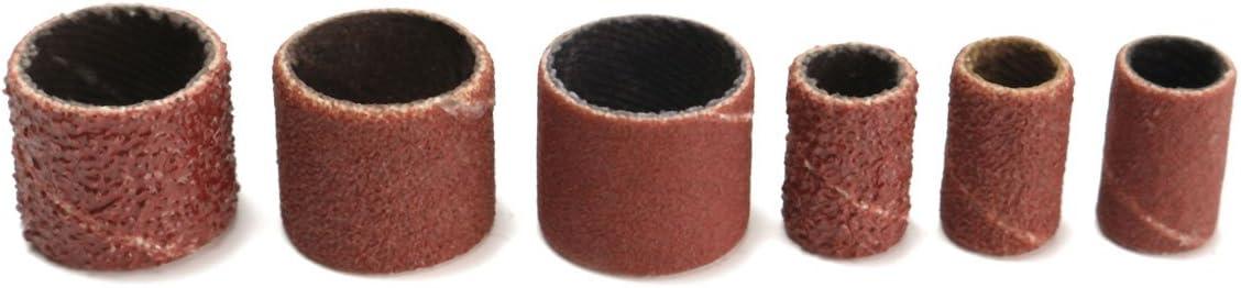 104Pcs//set 3//8 1//4 Sanding Bands Drums Sleeves 60 120 320 Grits W Mandrel For Dremel