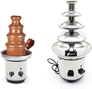 4-Tier Chocolate Fondue Fountain - Electric Stainless Steel Chocolate Melts Dipping Warmer Heated Melting Machine Commercial