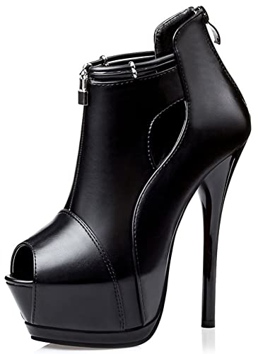 Women's Sexy Peep Toe Back Zipper Pumps Stiletto Extreme High Heel Platform Ankle Boots