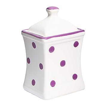 d31576290baf City to Cottage Handmade White and Purple Polka Dot Small 5.3oz/150ml Ceramic  Kitchen