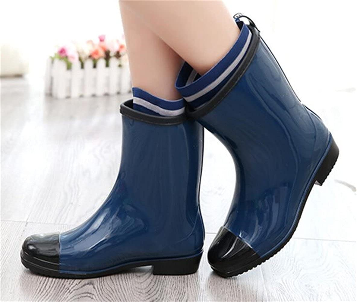 SATUKI Adult Womens Antiskid Short Ankle High Rubber Shoes Rain Boots