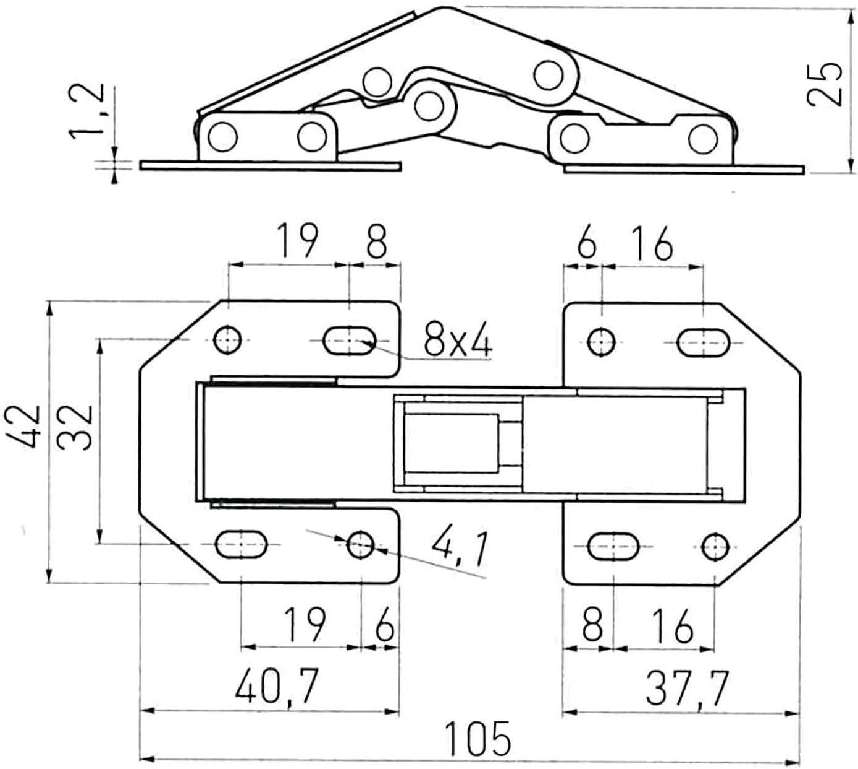 62402 90/° Hettich Mini Stahl vernickelt 77 x 33 mm 1 St/ück Aufschraubscharnier mit Feder