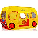 Dimple Children's Colorful Pop Up Play Tent in Yellow School Bus Design with Mesh Windows