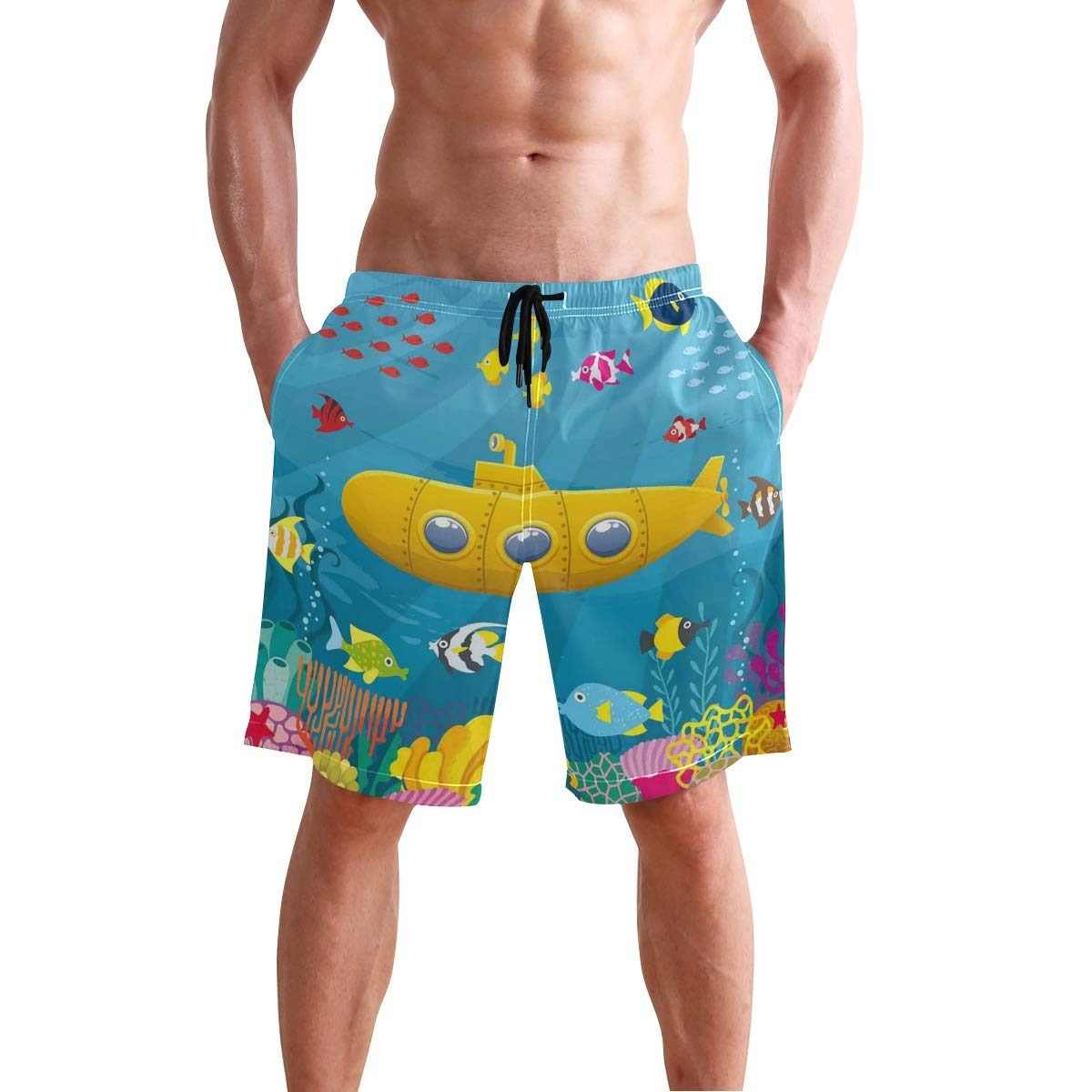 KVMV Coral Reef with Colorful Fish Ocean Life Marine Creatur Quick Dry Beach Shorts