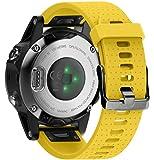 Ancool Bracelet pour Garmin Fenix 5S Band 20 mm Largeur Easy Fit Souple en Silicone Montre Band pour Fenix 5S (Jaune)