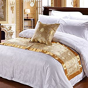 Luxury Hotel Bedding Club Bed Scarves Polyester Decorative Bed Cover Bed  Flag Gold 20x94inch (50x210cm)