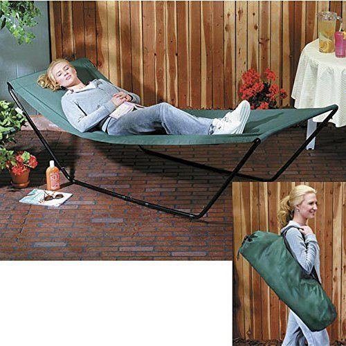 Portable Foldaway Hammock With Stand And Carry Bag New