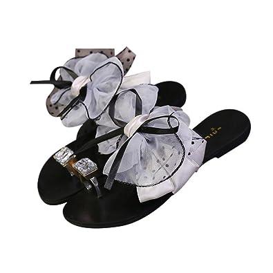 Bellelove Frau Schmetterling Draw Buttons Zehe Flachen Sandalen Hausschuhe
