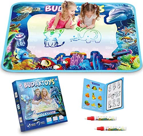 [LATEST 2020] Educational Toys Gifts for Toddler Boys Girl Age 2 3 Year Old, Aqua Magic Doodle Mat 40 X 28 Inches Extra Large, Art Activities Water Drawing Doodling Coloring Mats – USA Patented Design