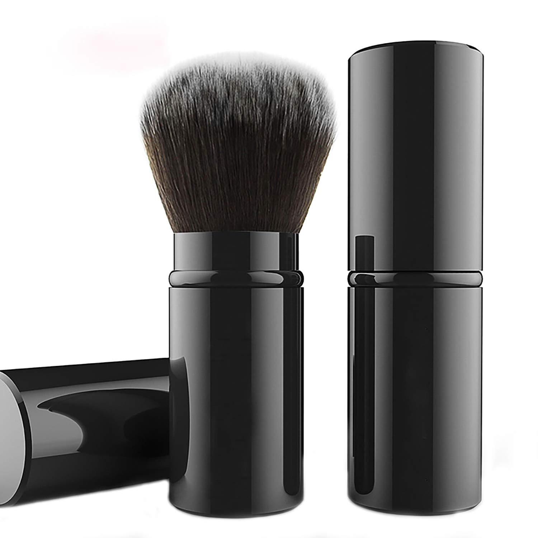 Falliny Retractable Kabuki Makeup Brush, Travel Powder Brush for Blush Bronzer, Buffing, Flawless Powder Cosmetics, Portable Face Blush Brush with Cover