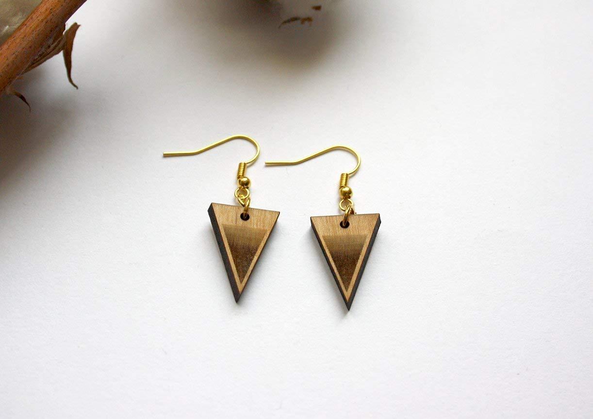 minimaliste moderne et boh/ème chic Boucles doreilles triangle en bois boucle pendante style g/éom/étrique Pendentif doreille dor/é.