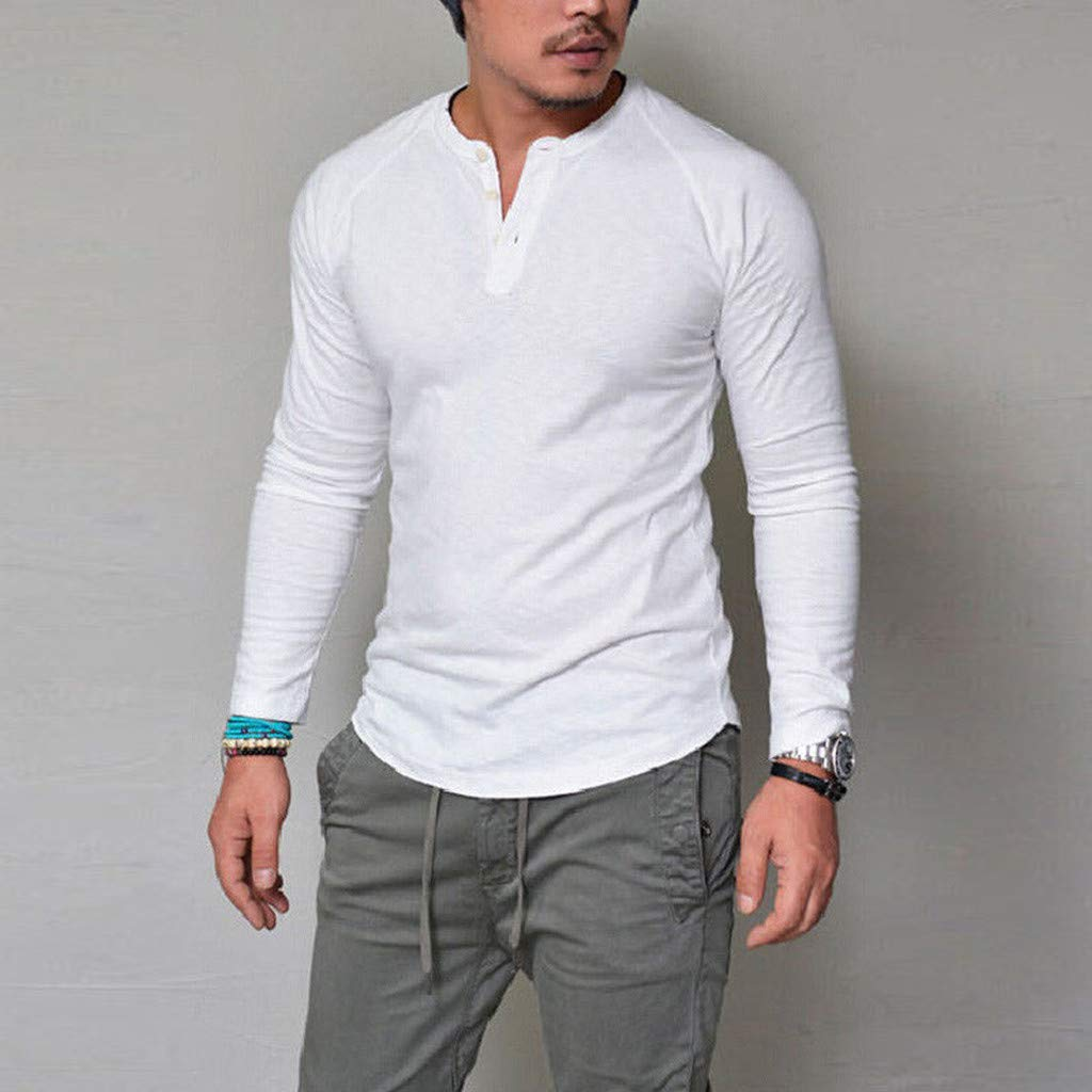 Hstore Mens Simple Shirts Fashion Men Slim Casual Muscle Solid Long Sleeve V Neck Tops Blouse T-Shirts