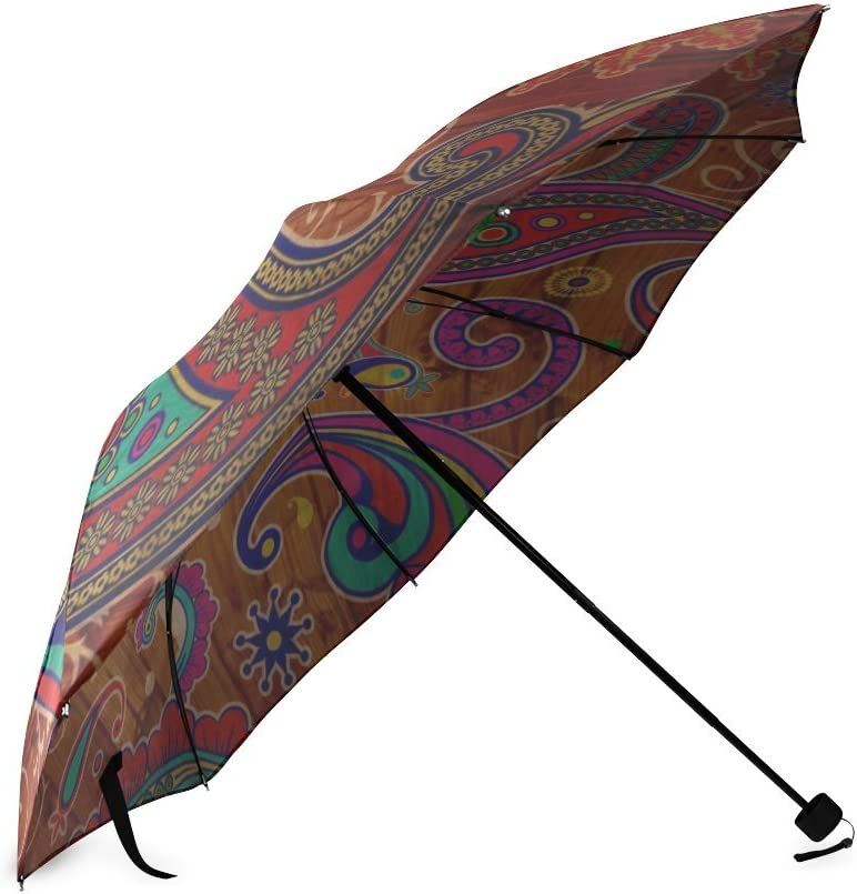 Custom Hippie Hippy Indian Mandala Compact Travel Windproof Rainproof Foldable Umbrella