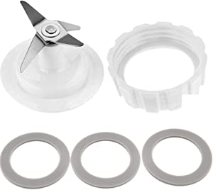 Blade Gasket Blender Base Bottom Cap and 3 Rubber O Ring Sealing Gaskets Blade Fit for Hamilton Beach Blender Replacement Mixer Parts with Screw Cap and Rubber Gasket, Blade Gasket, Screw Cap White