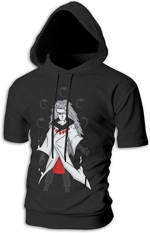 BilliePhillips Mens Naruto Fashion Drawstring Short Sleeve Hooded