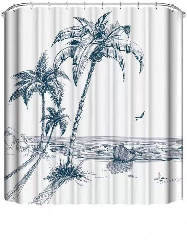 Coastal Shower Curtain, Hawaiian Beach with Contemporary Sketch Illustration Palm Trees Seagulls and Boat , Waterproof Washable Polyester Bathroom Home Decor with 12 Hooks (Blue, 72Wx72H inches)