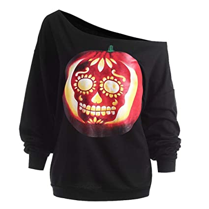 FimKaul Womens Pumpkin Devil Sweatshirt Pullover Tops Blouse Cold Shoulder Shirt Halloween Costumes (S,
