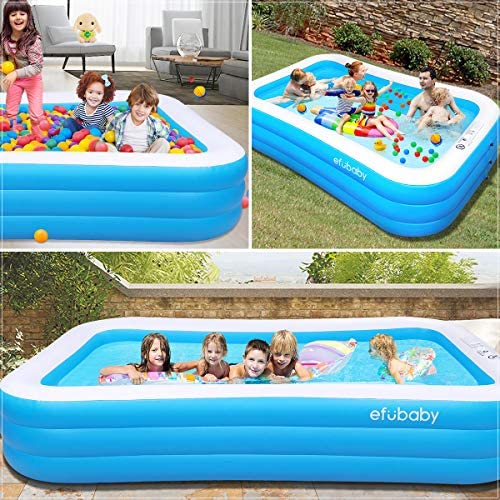 "efubaby Inflatable Pool, 120"" X 72"" X 22"" Full-Sized Swimming Pools Inflatable Kid Pools Blow up Pool Toddler Pool Family Pool for Baby, Kiddie, Adult Ages 3+ Outdoor Garden Backyard Ground Party"