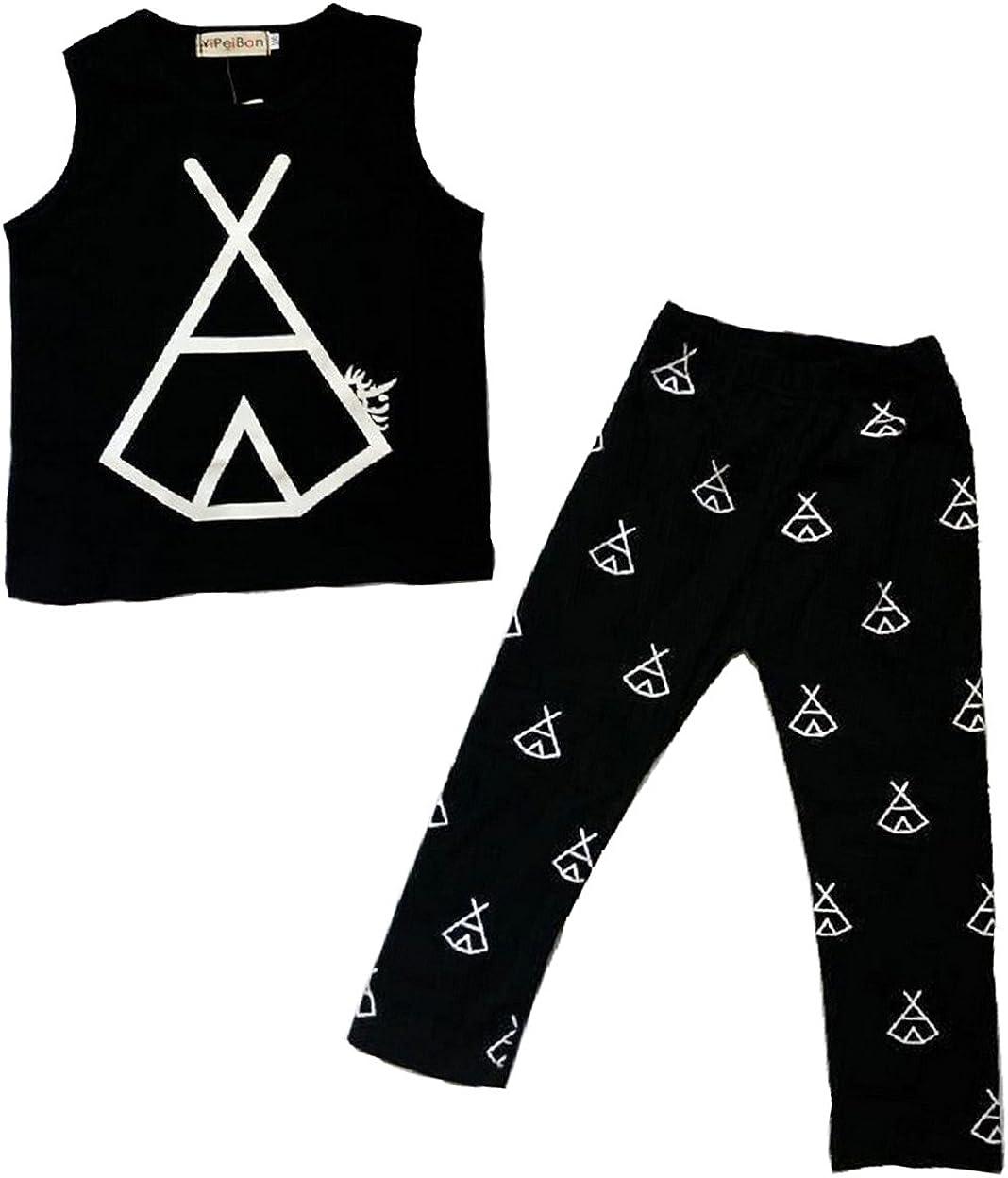 CANIS Baby Boy Cotton Graphic Vest Long Straight Pants 2 Piece Clothes Set