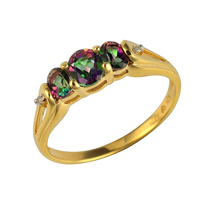 Ivy Gems Sterling Silver Gold Plate Mystic Green Topaz and Diamond Trilogy Ring 15VgcL