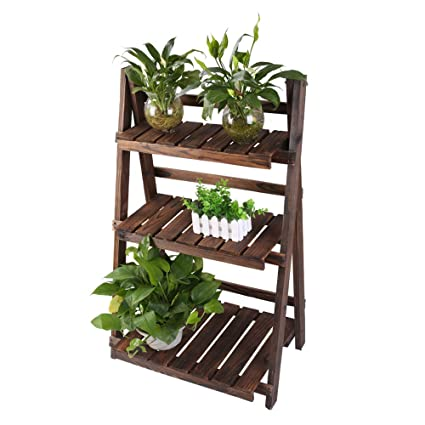 Eclife Wooden Plant Stands 3 Tier Folding Multifunctional Bamboo Bookcase Ladder Shaped Plant Flower Stand Rack Bookrack Storage Shelves S01