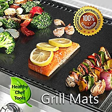 (Set of 3) 2 Premium-Grade BBQ Grill Mats plus 1 Baking Sheet, Satisfaction Guaranteed, Safe Non-Stick Extra Heavy Duty - Works on Gas, Electric, Charcoal Grills