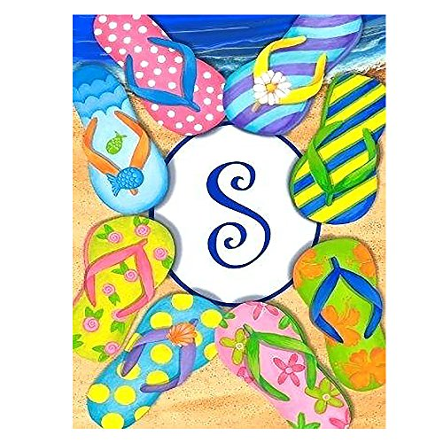 ALAZA Monogram S Summer Flowers Flip Flops Double Sided Gard