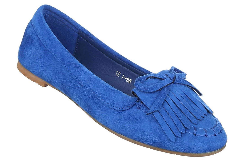 Damen Ballerinas Schuhe Loafers Slipper Slip-on Flats Schleifen Blau 36 ci9WOJqp