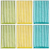 DecorRack Kitchen Towels, Microfiber Dish Drying Cloth, 16 x 19 inch, Striped Hand Towel Set, Green Yellow Blue (Set of 6)