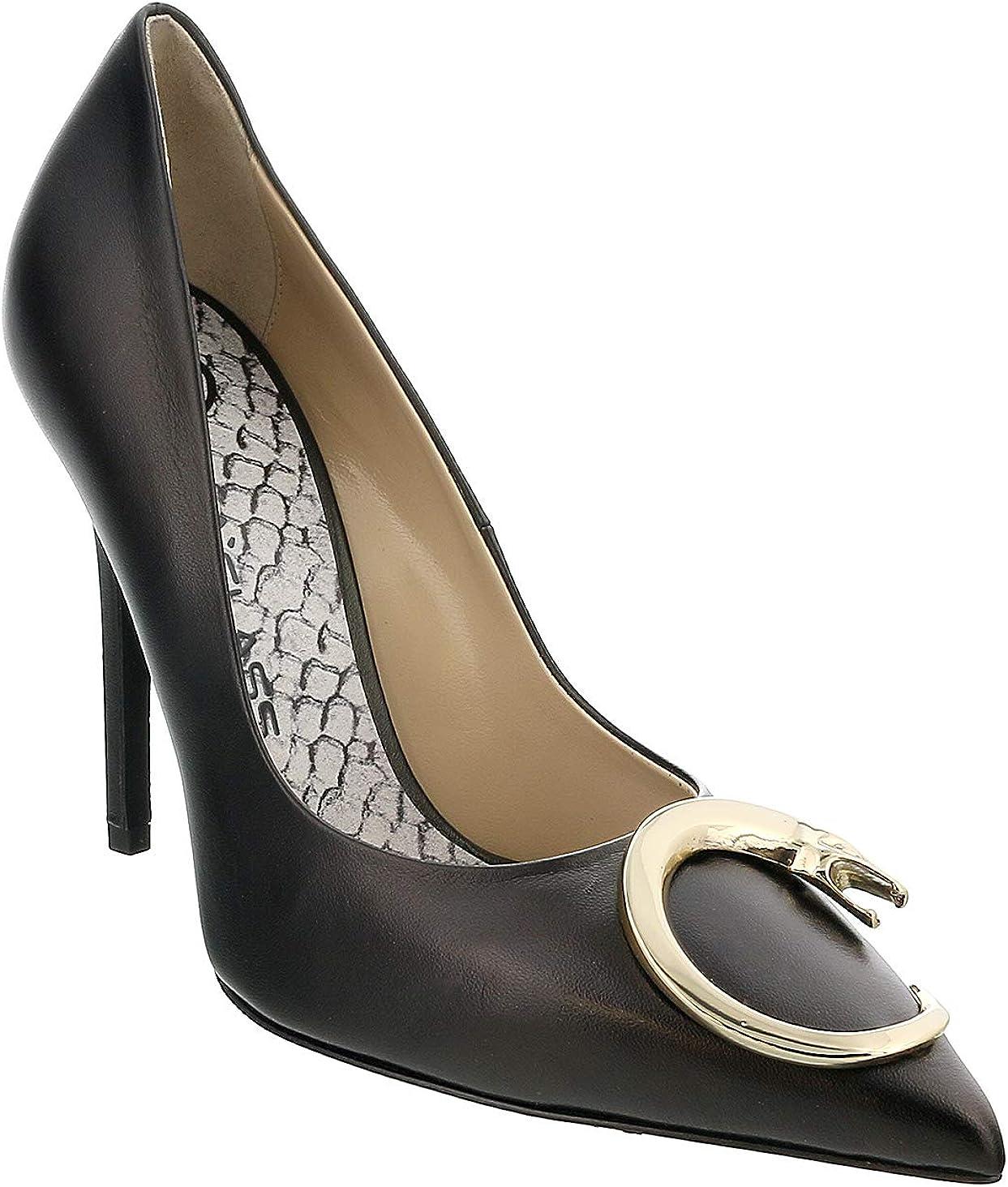 black leather heel shoes