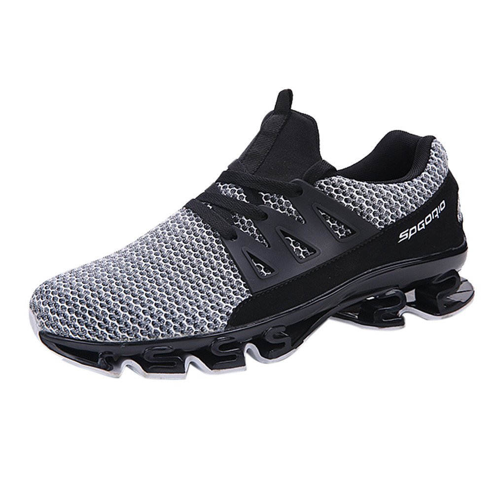 Men's Mesh Sport Shoe,Breathable Running Walking Shoe Comfy Workout Lace-up Sneaker Shoes (US:9.5, White) by Kaniem