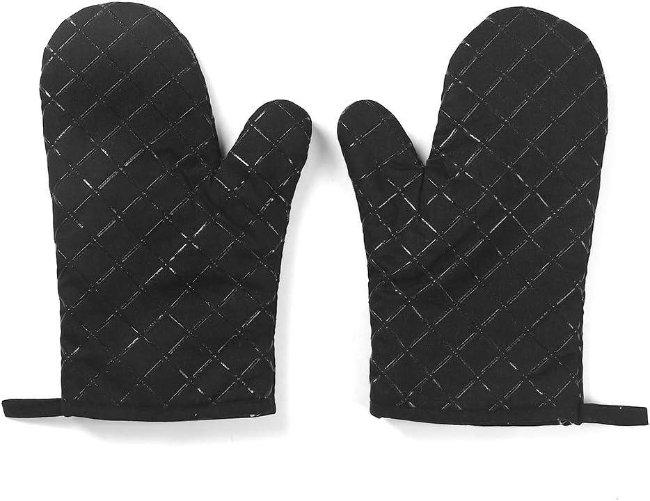 Huinsh Premium Silicone Oven Mitt 500¨H Heat Resistant Oven Gloves Non Slip Durable Kitchen Oven Mitts 1 Pair (Black)