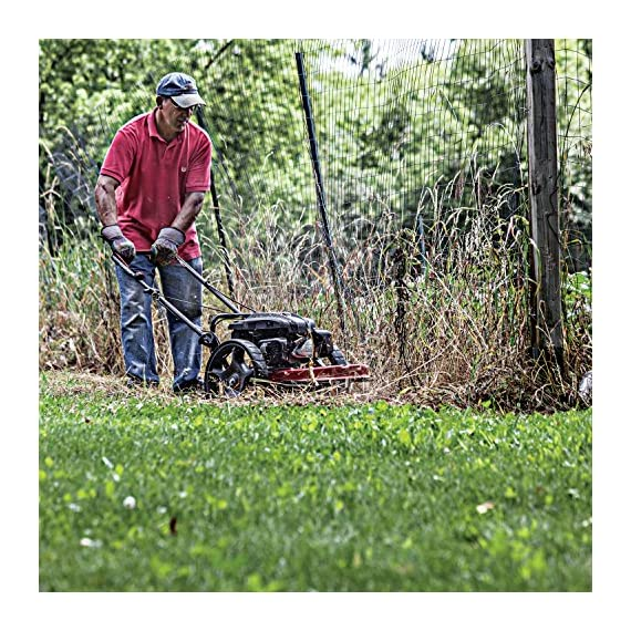 "Earthquake 28463 m205 trimmer with 150cc 4-cycle viper engine walk behind string mower, red/black 3 powerful - powered by a strong, yet quiet, 150cc 4-cycle viper engine. The earthquake m205 walk behind string mower chops down your unsightly weeds and stubborn brush with ease. The large 14-inch wheels allow you to float through thick grass, weeds, brush, nettles, and other foliage too difficult for push mowers to overcome. Durable - our one-piece steel deck provides strength and stability while reducing vibration. Super tough nylon line has a cutting swath of 22"" to get the job done quickly. Never kill engine: unlike many competitive units, our engine will continue to run when the cutting head is disengaged so you can safely and easily remove sticks, branches or other obstacles without having to re-start the engine, saving time and frustration."