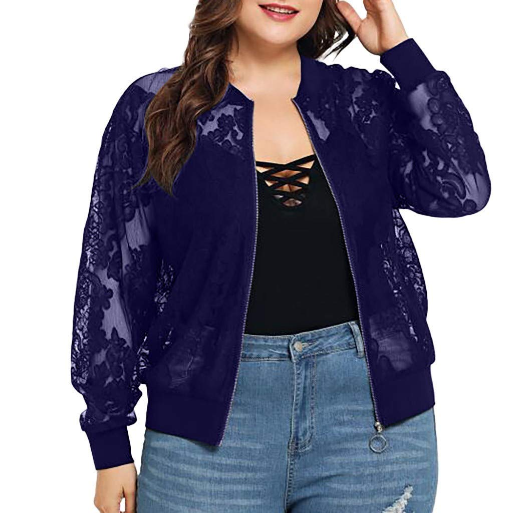Sunhusing Ladies Large Size Lace Flower Stitching Long-Sleeve Jacket Summer Casual Beach Cardigan Coat Blue by Sunhusing