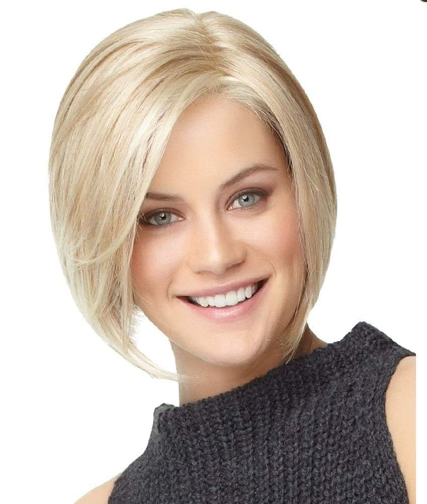 gold AISHUAIGE Fashion Bob Short Straight Fluffy Wig Blonde Full Synthetic Heat Resistance Hair for Women with Wig Cap Party