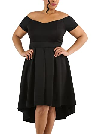 Lalagen Womens Plus Size Vintage Off Shoulder Cocktail Party Swing
