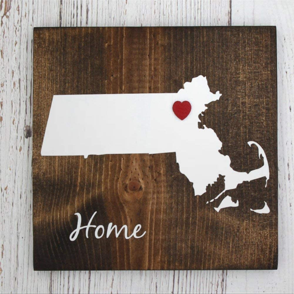 BYRON HOYLE Massachusetts State Home Wood Sign,Wooden Wall Hanging Art,Inspirational Farmhouse Wall Plaque,Rustic Home Decor for Living Room,Nursery,Bedroom,Porch,Gallery Wall