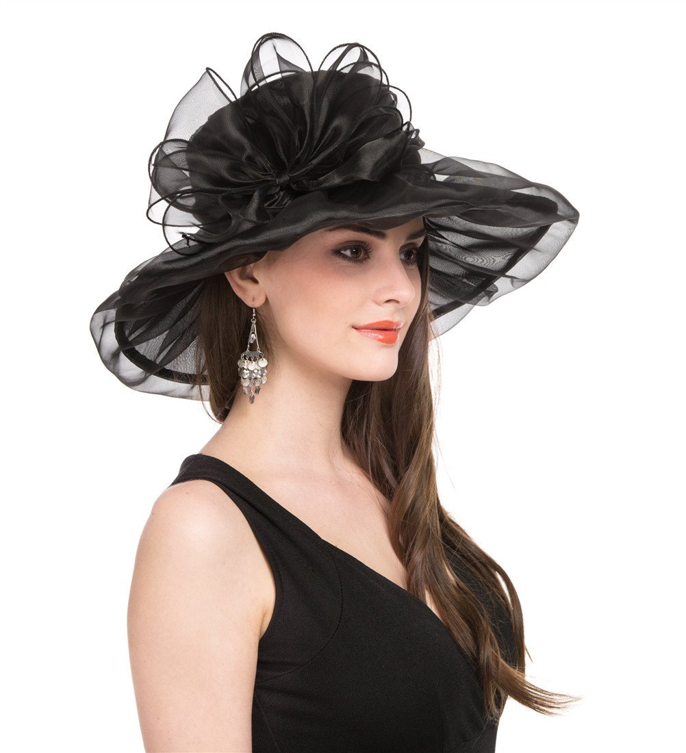 SAFERIN Women's Organza Church Kentucky Derby Fascinator Bridal Tea Party Wedding Hat (1-Black with Bowknot) by SAFERIN (Image #2)