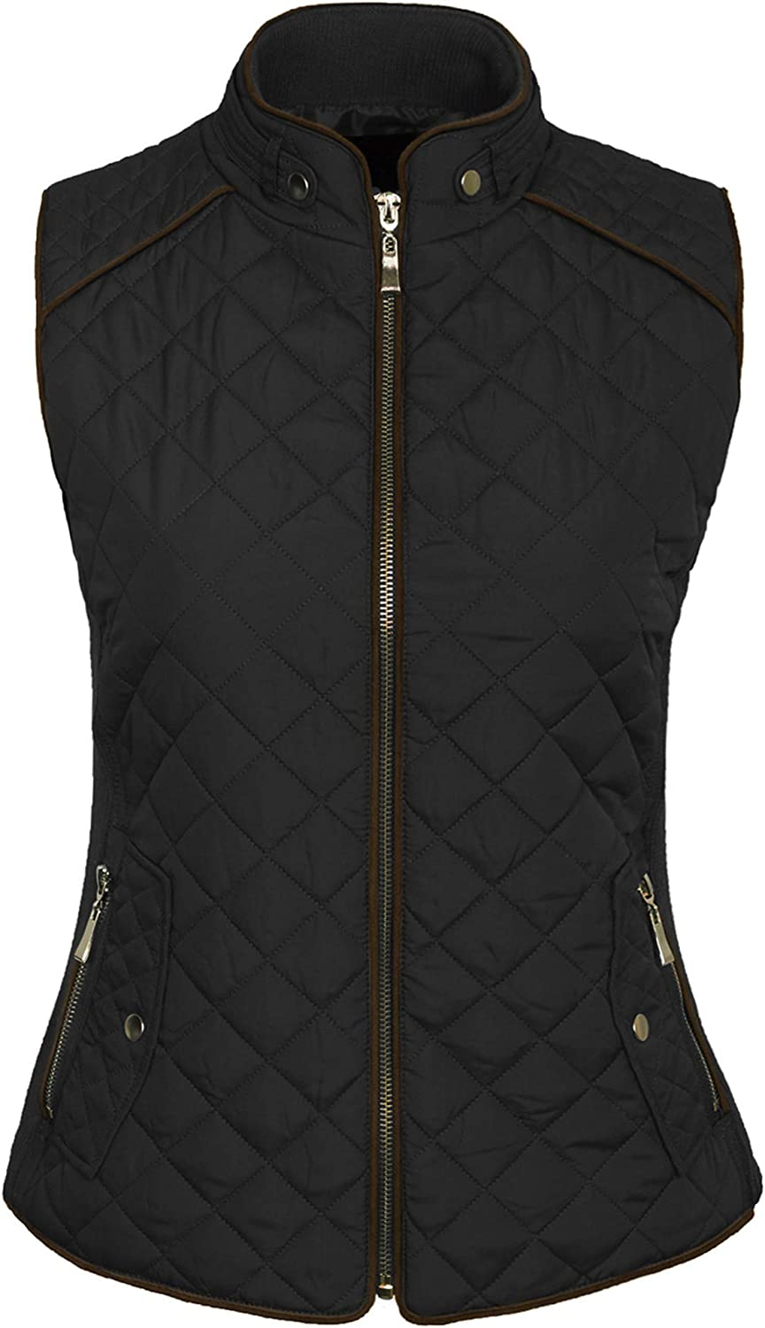 KOGMO Womens Quilted Fully Lined Lightweight Zip Up Vest S-3X