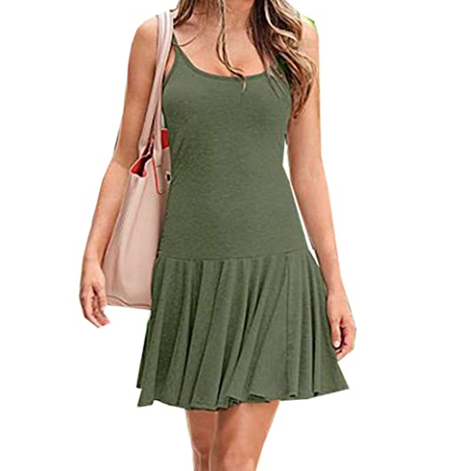00b7586a6995 Amazon.com: MLG Women's Big Hem Sexy Fit Solid Pleated Slip Dress ...