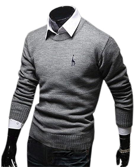 5d77d4406ddc9 Saoye Fashion Casual Couleur Unie Col Rond Sweatshirt Hommes Polo Vêtements  Automne Pull Long Pull Chaud Hommes Hommes Pull Tricoté Extensible  Cardigan  ...
