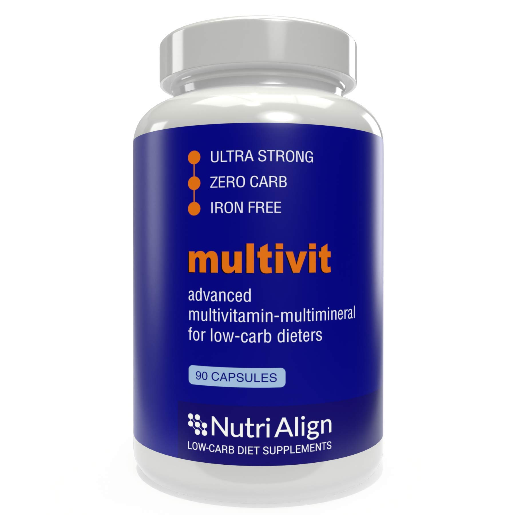 Nutri-Align Multivit: Multivitamins for Keto, Atkins and Similar Low-Carb Diets. Extra-Strong, Iron-Free, Sugar-Free, Zero-Carb. 90 Capsules. by Nutri-Align