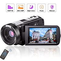 Camcorder Video Camera Full HD Camcorder Camera 1080P 24.0MP Vlogging Camera Night Vision Pause Function with Remote Controller