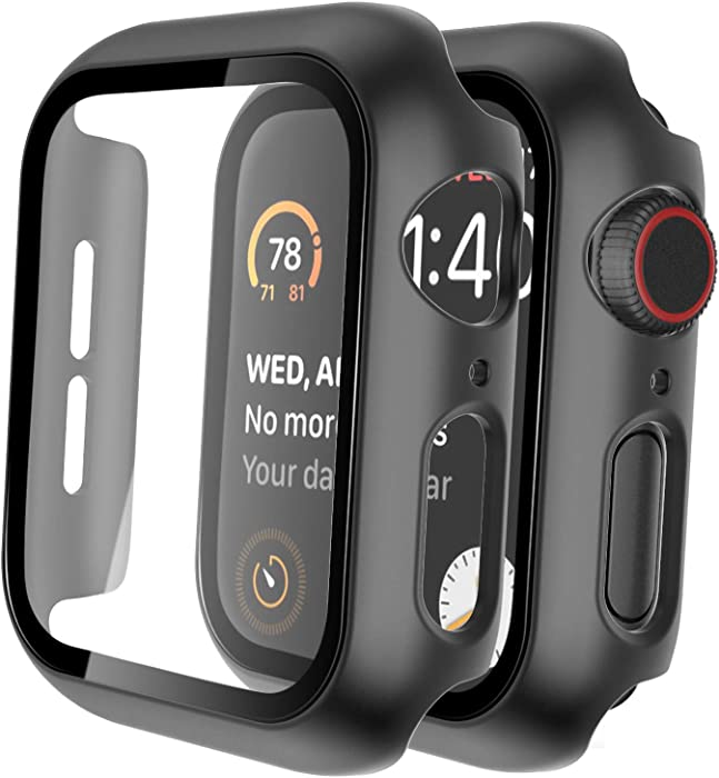 Tauri 2 Pack Hard Case for Apple Watch Series 3/2/1 38mm Built in 9H Tempered Glass Screen Protector, Slim Bumper, Touch Sensitive, Full Protective Cover for iWatch 38mm - Black
