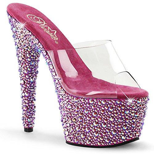 Pleaser Bejeweled-701MS sexy High Heels Plateau Sandaletten mit Strass Klar Hot Pink Fuchsia 35-41