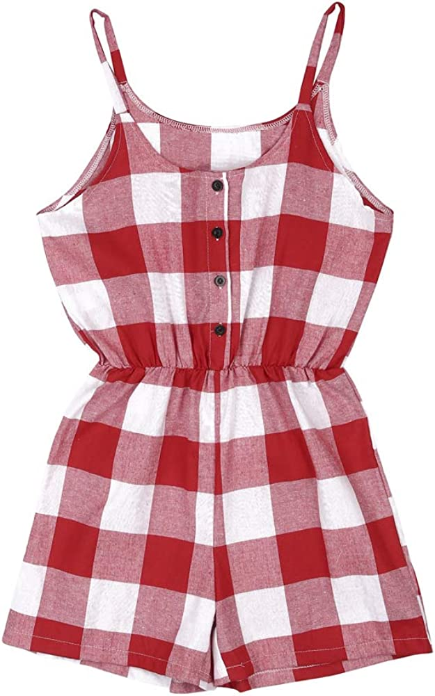 Mommy and Me Matching Clothes Sleeveless Plaid Romper Jumpsuit Family Matching One-Piece Outfits