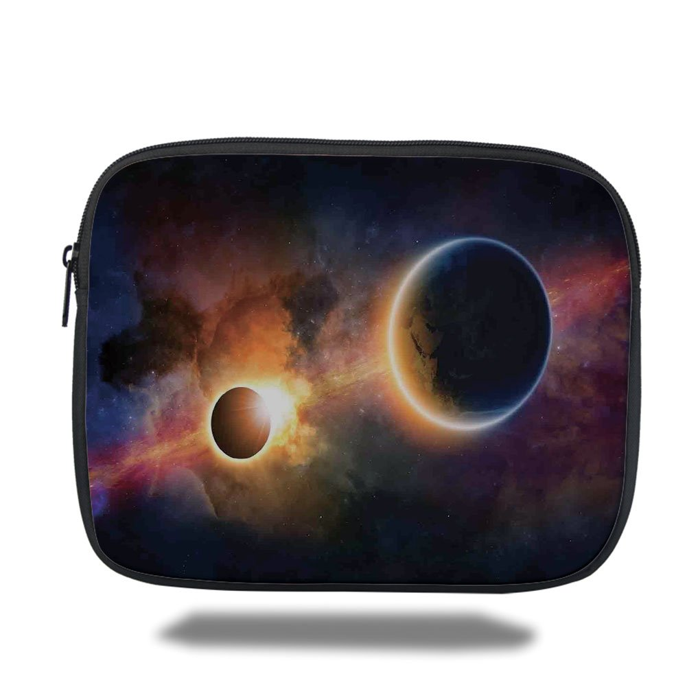 Laptop Sleeve Case,Outer Space Decor,Planet in Milky Way Dark Nebula Gas Cloud Celestial Solar Eclipse Galaxy Theme,Multi,iPad Bag