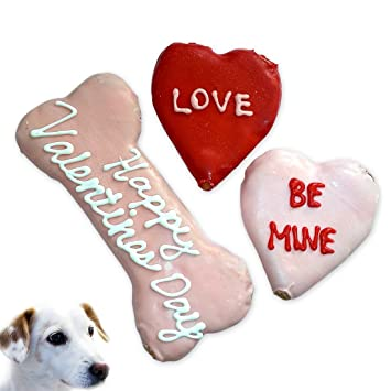Amazon Com Valentines Day Dog Treats V Day Hearts And Bone